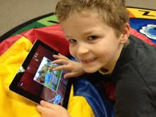 griswold little boy with ipad