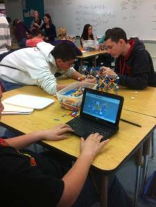 "Fair Lawn students work with Zomes, as well as modeling their tower on a 3D ""CAD"" (Computer Aided Design) program."