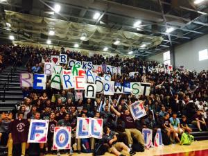 Students at Belleville West celebrate the school's grand-prize win in the Follett Challenge